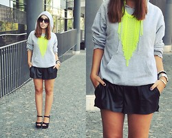 Becca S. - H&M Shorts, H&M Neon Necklace, Second Hand Hoodie - I remember it well....