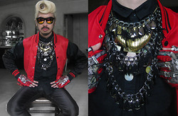 Andre Judd - Varsity Jacket, Stacked Neckpieces, Protacio Embellished Gloves, Avel Bacudio Silk Tuxedo Trousers - VARSITY PUNK