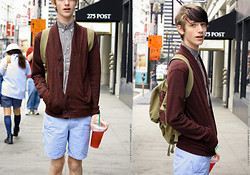 Zac Thayer - American Apparel Oxford Shirt, Unknown Cardigan, Cotton On Monte Carlo Blue Stripped Shorts - San Francisco Bum
