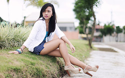 Virna Alyssa Cabuhat - Zara Turquoise Tank Top, Bossini White Blazer, H&M Blue High Waist Polka Dot Short, Foxy Shoes - After Everything