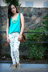 Maricel A - Topshop Scallop Teal Top, Forever 21 Floral Denim, Zara Satchel, Sperry Top Side Gold Flats - Random day