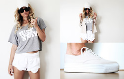 Anne Britt - River Island Nude Sneakers, Brashy Couture Just Stay Shirt, H&M Diy White Shorts, Zara Nude Blazer - Ready to run?