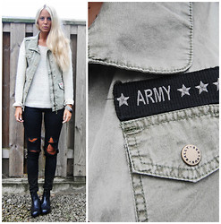 Kajsa Svensson - Rut. Mfl. Army Vest, Wera Boots, Vero Moda Knitted Sweater - In the army