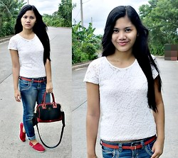 Judy Gonzales - Diana Valentino Handbag, Toms Red Shoes - Casual Look!