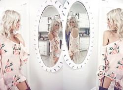 Rachel Lynch - St. Mark's Stud Collar, Wildfox Couture Pink Rose Sweater - The blonde mirror