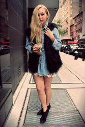 Nicole Alyse - Gap Boyfriends Chambray Shirt, White Lace Mini, Vintage Fur Vest, Steve Madden Booties - The start of fall layering..