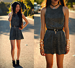 Jennifer Wang - Vintage Shimmery Dress, Romwe Lock And Key Belt, Forever 21 Cut Out Cuffs - ENDER'S GAME