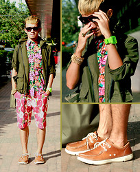 Yves Camingue - Technosport Wristwatch, Thrifted Parka, Mall Bazzaar Floral Printed Shirt, Yves Saint Laurent Apple Print Bermuda Shorts, Crocs Tan Leather Thompsons - Kealakekua Gardener