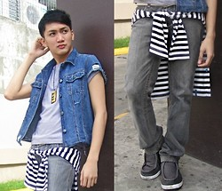 Jan Alfie Bartolome - Local Thrift Store Diy Denim Vest, Folded And Hung I <3 ♫ Necklace, Gray Shirt, Molecules Sweater, Penshoppe Pants - Denim and Baggy Pants