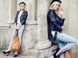 La Leonella - Romwe Silver Jewelry, Closed Hat, Gina Tricot Blue Jeans, Vintage Tk Maxx High Heels, Saint Noir Shirt, Vintage Leather Jacket, Danke Samaniego Leather Bag - I want you!