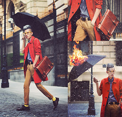 Mike Quyen - Zara Shirt, H&M Glasses, H&M Coat, H&M Bag, H&M Chinos, Zara Shoes - Set fire to the rain