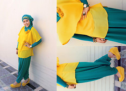 Aghniya Fitrisna - Turquoise Hareem, Yellow Chiffon Blouse, Yellow Mary Jane Wedges - Yellow turquoise on Eid Mubarak