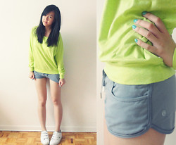 Serina Z - Tna Lime Green Sweater, Lululemon Grey Shorts, Lacoste Kicks, Essie Turquoise & Caicos - Starve the ego, feed the soul