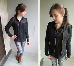 Krista T - Estradeur Shirt, Only Jeans, H&M Shoes, Cubus Jacket - The beginning of autumn