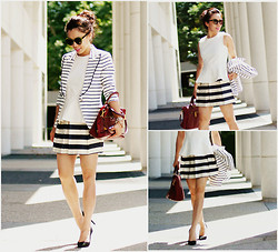 Hallie S. - Zara Peplum Top, Asos Skirt, Smythe Blazer, Prada Bag - Stripey Black & White