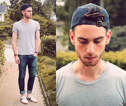 Edward Honaker - Obey Hat, American Apparel Shirt, Kasil Jeans, Nike Shoes - Idk