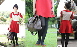 Tika Hutagalung - Eustasia Red Dress, Bata Ribbon, Tights, Gembool Brown Bag - Red Summer