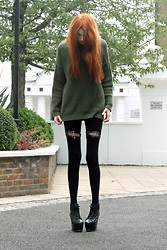 Olivia Emily - Suspender Leggings, Topshop Jumper, Ella's Jc Litas - Messy Hair.