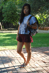 Erika Eng - Target Tribal Backpack, Forever 21 Top, Forever 21 Maroon Lace Shorts, Volcom Sandals - I don't want to go back to school...