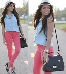 Daniela Ramirez - Romwe Denim Sleeveless Top, Gap Salmon Jeans, Lovely Pepa Cap Toe Pumps, Brahmin Bag - Summer breeze