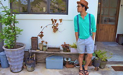 Hajime Yamamoto - Straw Hat, H&M Button Cotton Shirt, H&M Suspender, Uniqlo Short Pants, Yves Saint Laurent Leather Strap Sandals - YOU IN THE END