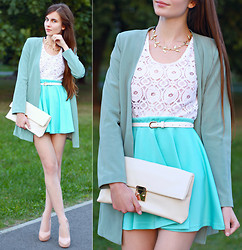Ariadna M. - Romwe White Belt, Romwe Green Blazer, Beckybwardrobe White Lace Top, Romwe Blue Skirt, Vj Style Designer Buckle Clutch Bag, Asos Beige Heels, Romwe Leaves Gold Necklace - Fresh