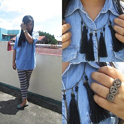 Nadin Magbiray - Thrifted Denim Polo, S And M Tassel Necklace - Bluer than Blue, Sadder than Sad