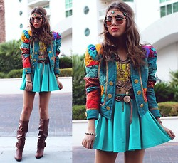 Bebe Zeva - Funny People Co Turquoise Headchain, The Cobrashop Gold Rimmed Sunglasses, Tunnel Vision Quilted Blazer, Yes Style Teal Circle Skirt, Pink & Pepper Khloe Knee High Boots - TEAL MY SUNSHINE