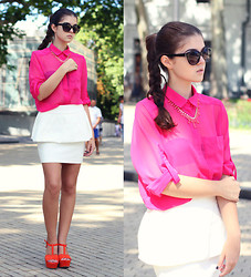 Diana Nesterov - H&M Necklace, Mango Sunglasses - Pink shirt