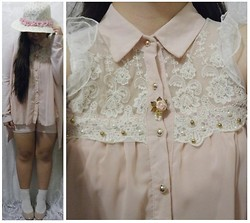 Lee.Sze ♥ - Diy Floral Hat, Diy Floral Pearl Brooch, Lace Pink Chiffon Top, White Lace Socks, Beige Pumps - ✿(◡‿◡♥)✿
