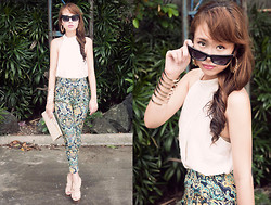 Dominique Marie Tiu - Lamb Snakeskin Peeptoes, Forever 21 Cat Eye Sunglasses, H&M Gold Hoop Earrings, Forever 21 Chiffon Top, Forever 21 Gold Cuff, Accessorize Cream Clutch With Gold Detail, Apartment 8 Scarf Print Pants - Cutting Back to the Essentials