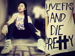 Cherys L - Diy Shirt, Converse Shoes - Live Fast And Die Pretty