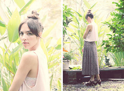 Kennedy Holmes - American Apparel Loose Crop Tank, Vintage Printed Maxi Skirt, Korkease Black Clogs - A lady friend in tow