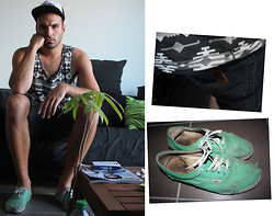 Ben ALLARD - H&M Aztec Singlet, Vans Slim Authentic, Carhartt Self Cutted Short - Summer + green = ok?