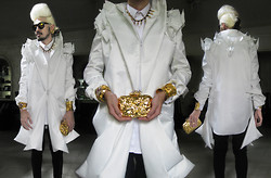 Andre Judd - Jan Garcia Origami Couture Silk Coat, Ann Ong Crumpled Gold Clutch With Matching Cuffs, Protacio White Button Down, Guy Laroche Vintage Gold Earrings - WHITE COUTURE