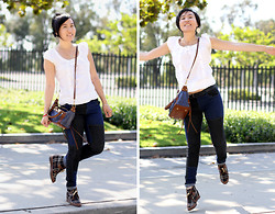 Crystal C - H&M White Top, Urban Outfitters Colourblock Jeans, 80%20 Wedges, Rebecca Minkoff Bag - Leap at the Opportunity