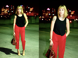 Jamie Matherly - Thrifted Red Vintage Trousers - Seeing Red