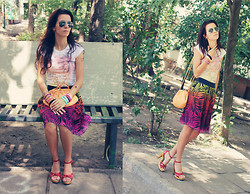 Susanna Vesna - Rafaella Multicoloured Chiffon Skirt, Vintage Peachy Bag, Aeropostale Hermosa Beach T, Mother's Vintage Handmade Wooden Heels, Ribbon Bracelets Made By My Sister - Bench At The Porch No.2