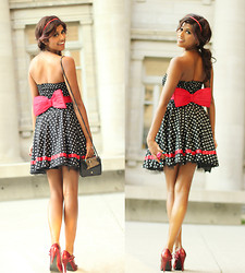 Menaka Iyer - H&M Hot Lips Ring, Marc By Jacobs Dot., H&M Red Bow Belt, Windsor Vintage Polka Dot Dress, Trend Purse, Spring Red Bow Heels, Ardennes Polka Dot Headband - Polka-dot Vision- #MARCtheDOT