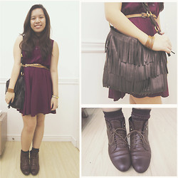 Bea Marquez - The Bead Shop Cuff, Forever 21 Dress, Korea Fringed Bag, H&M Laced Boots, Uniqlo Socks (Men's), Mom's Belt, Bangkok Wrap Bracelet - WOODLAND