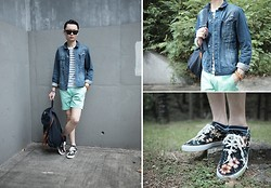 Edward Poon - Global Work Floral Sneakers, Mykita Sunglasses, Hare Denim Jacket, Zara Stripped Shirt, H&M Mint Shorts, Paisley Pocket Square - Floral sneakers