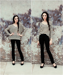 Emma Noelle - Nordstrom Striped Knit Sweater, Etsy Vintage Leather Pants - The Kids Don't Stand A Chance