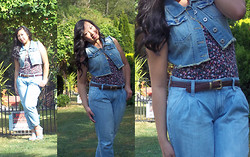 Paulina V - Highway Jeans Denim Vest, Ross Floral Tank Top, Old Navy Cropped Jeans - The Denim Vest: Sweet and Simple