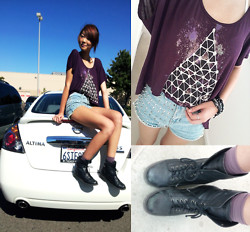 Michelle Pan - D.I.Y. Spiked High Waisted Shorts, Lucky Ankle Boots, High Low Hem T - It's All Alright