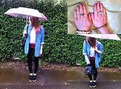 ○○✝Ashley Dolan✝○○ - Dixi Ring, Primark Black Backpack, H&M Pink Umbrella, Urban Outfitters Oversized Denim Shirt With Gold Collar Tips, Diy Ombre Top, Black Platform/Creepers, Black Milk Clothing Velvet Leggings, Topshop Jewellery - Deadmau5 feat. Gerard Way - Professional Griefers