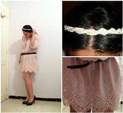 Corona Australis - Julia Orop Crochet Dress, Alicia Shoes, Vintage Necklace Pearl Headband - Pastel Crochet Dress