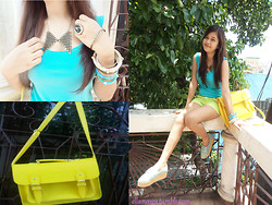Ella Sunga - Prodigal Heather Apple Green Shorts, Sm Accesories Detacheable Collar, Sm Accessories Ring, Sm Accessories Bangles, Impulse Co Yellow Satchel Nag, Prodigal Heather Turquoise Shirt - Shadows in the light