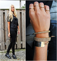 Kajsa Svensson - Only Leather West, Gina Tricot Rings, H&M Bracelets, Romwe Bracelet, Wera Boots - Just do it