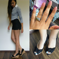 Angelina Sunshine - H&M Ring, Zara Sweater, H&M High Waisted Shorts, Zara White Collar Shirt, H&M Wedges - Hit Me Baby One More Time