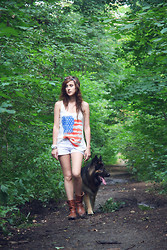 Natalia B. - New Yorker T Shirt With The American Flag, Tommy Hilfiger Biker Boots, Mango White Shorts With Studs, Triwa White Watch, Vintage Bracelets - And in the morning I`ll be with you